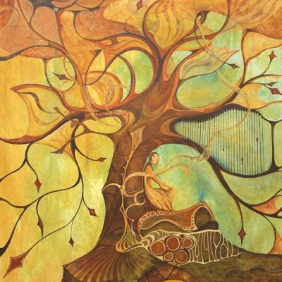 ÁRBOL MUSICAL. Ibiza 2009. 51´5x70cm Acrílico sobre madera. Acrylic on wood.