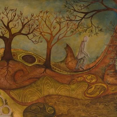 """CAMINANTE (""""El caminante ahuyenta,caminando, a sus demonios. Estos son siempre sedentarios"""" Texto de V.Valero.). Ibiza 2009. 28x40cm.  Acrílico sobre madera. Acrylic on wood."""