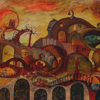 LA CIUDAD. Ibiza 2006 122 x 98 cm. Acrílico sobre madera. Acrylic on wood.