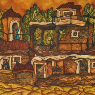 COMUNIDAD. Ibiza 2009. 60x100cm. Acrílico sobre madera. Acrylic on wood.