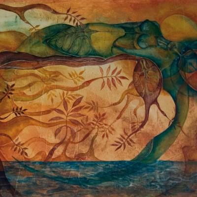 CONTEMPLANDO EL DOLOR. Ibiza 2004. 60x81cm. Acrílico sobre lienzo de pasta. Acrylic on textured canvas.