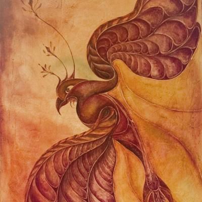 EL LORO . Ibiza 2004. 65x100cm. Acrílico sobre lienzo de pasta. Acrylic on textured canvas.