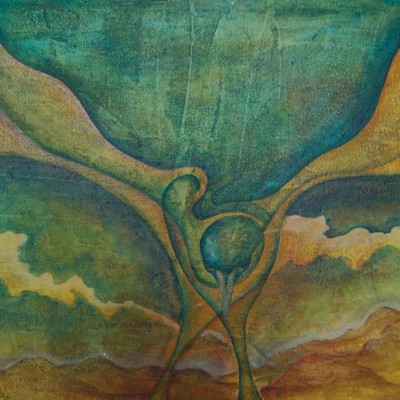 EL VUELO. Ibiza 2004.  65x100cm. Acrílico sobre lienzo de pasta. Acrylic on textured canvas.