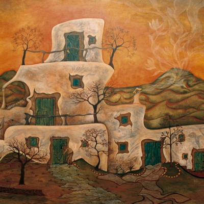 LA CASA. Ibiza 2007  122x90cm. Acrílico sobre madera. Acrylic on wood.