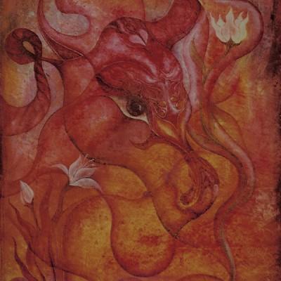 LA SEMILLA PROTEGIDA. THE PROTECTED SEED.  Ibiza 2003. 60x100cm. Acrílico sobre lienzo de pasta. Acrylic on textured canvas.