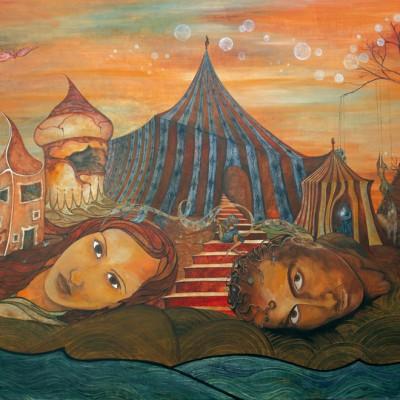 SIGUE JUGANDO. Ibiza 2007 122x90cm. Acrílico sobre madera. Acrylic on wood.