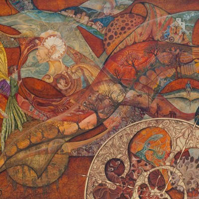 EL TIEMPO FUERA DEL TIEMPO. Ibiza 2008-10.  122X150cm. Acrílico sobre madera. Acrylic on wood.