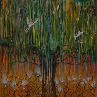 """Tree feeding flowers"" 60x100cm Acrylic on wood."