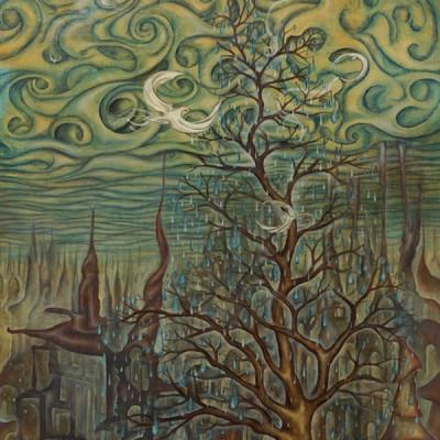 """The last tree"" Oil and egg tempera on wood."