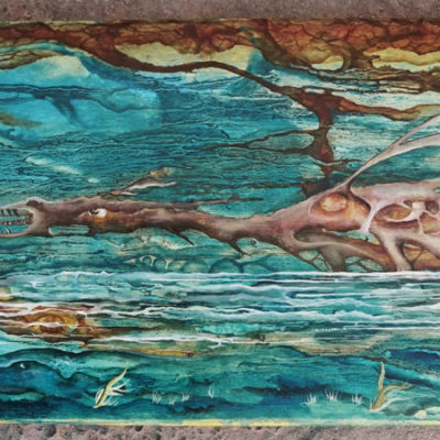 THE WATER DRAGON Skateboard painting. Oil on wooden skateboard